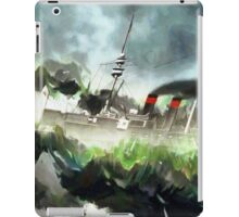 A German Armoured Cruiser Battling the Heavy Seas 1895 iPad Case/Skin