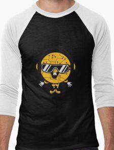 comic cartoon cyborg robot electric lines man male figure cute sweet music party sunglasses headphones dj club disco Men's Baseball ¾ T-Shirt