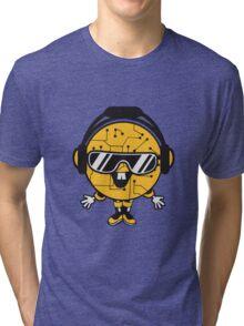 comic cartoon cyborg robot electric lines man male figure cute sweet music party sunglasses headphones dj club disco Tri-blend T-Shirt
