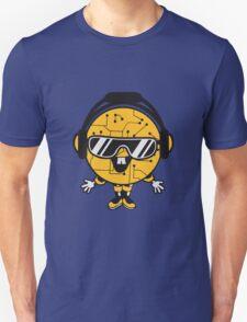 comic cartoon cyborg robot electric lines man male figure cute sweet music party sunglasses headphones dj club disco Unisex T-Shirt