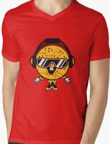 comic cartoon cyborg robot electric lines man male figure cute sweet music party sunglasses headphones dj club disco Mens V-Neck T-Shirt