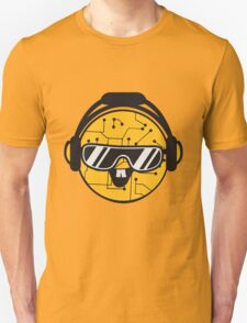 comic cartoon cyborg robot electric lines face head round circle cute sweet music party sunglasses headphones dj club disco Unisex T-Shirt
