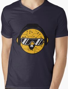 comic cartoon cyborg robot electric lines face head round circle cute sweet music party sunglasses headphones dj club disco Mens V-Neck T-Shirt