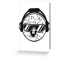 comic cartoon cyborg robot electric lines face head round circle cute sweet music party sunglasses headphones dj club disco Greeting Card