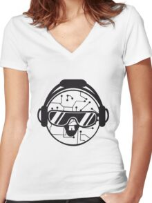 comic cartoon cyborg robot electric lines face head round circle cute sweet music party sunglasses headphones dj club disco Women's Fitted V-Neck T-Shirt