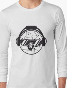 comic cartoon cyborg robot electric lines face head round circle cute sweet music party sunglasses headphones dj club disco T-Shirt