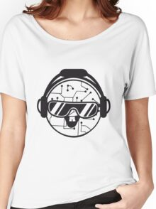 comic cartoon cyborg robot electric lines face head round circle cute sweet music party sunglasses headphones dj club disco Women's Relaxed Fit T-Shirt