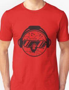 comic cartoon cyborg robot electric lines face head round circle cute sweet music party sunglasses headphones dj club disco Unisex T-Shirt