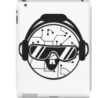 comic cartoon cyborg robot electric lines face head round circle cute sweet music party sunglasses headphones dj club disco iPad Case/Skin
