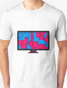 colorful wire connections data microchip electronically screen tv pc computer display image design T-Shirt