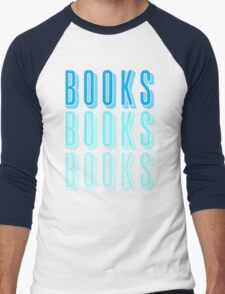 BOOKS BOOKS BOOKS in blue Men's Baseball ¾ T-Shirt