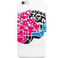 colorful cyborg brain machine computer science fiction microchip intelligence brain design cool robot black iPhone Case/Skin