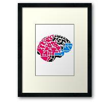 colorful cyborg brain machine computer science fiction microchip intelligence brain design cool robot black Framed Print