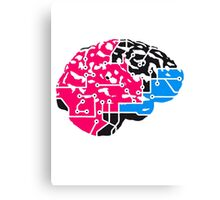 colorful cyborg brain machine computer science fiction microchip intelligence brain design cool robot black Canvas Print