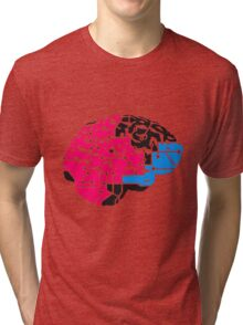 colorful cyborg brain machine computer science fiction microchip intelligence brain design cool robot black Tri-blend T-Shirt