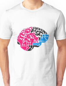 colorful cyborg brain machine computer science fiction microchip intelligence brain design cool robot black Unisex T-Shirt
