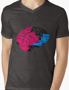 colorful cyborg brain machine computer science fiction microchip intelligence brain design cool robot black Mens V-Neck T-Shirt