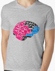 colorful cyborg brain machine computer science fiction microchip intelligence brain design cool robot black Mens V-Neck T-Shirt