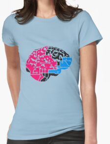 colorful cyborg brain machine computer science fiction microchip intelligence brain design cool robot black Womens Fitted T-Shirt