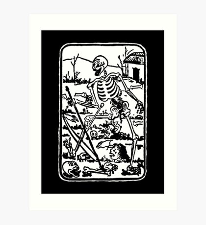 The Death - Old Indian / Asian Tarot Card - black/white Art Print