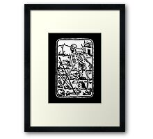 The Death - Old Indian / Asian Tarot Card - black/white Framed Print