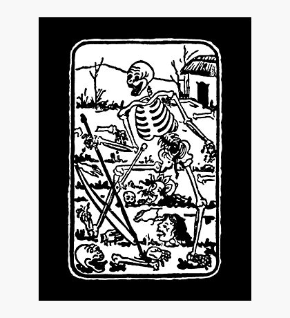 The Death - Old Indian / Asian Tarot Card - black/white Photographic Print