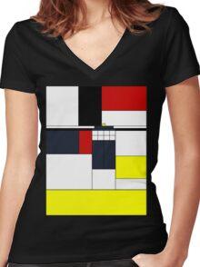 Mondrian Tardis Women's Fitted V-Neck T-Shirt
