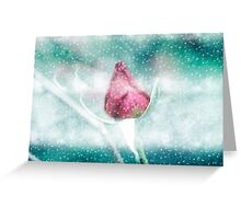 Digitally manipulated Pink garden rose in a blizzard  Greeting Card