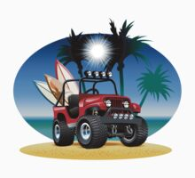 Cartoon Jeep on the beach Kids Tee