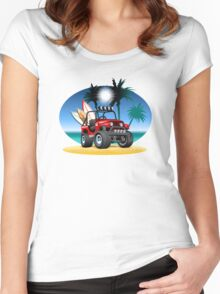 Cartoon Jeep on the beach Women's Fitted Scoop T-Shirt