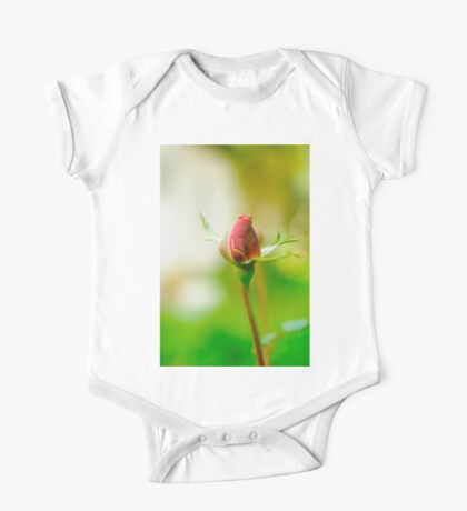 Perfect Red Rose bud with lush green background  One Piece - Short Sleeve