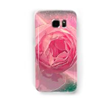 Digitally manipulated exploding Pink English rose as seen from above  Samsung Galaxy Case/Skin