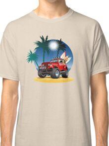 Cartoon Jeep on the beach Classic T-Shirt