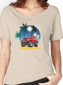 Cartoon Jeep on the beach Women's Relaxed Fit T-Shirt