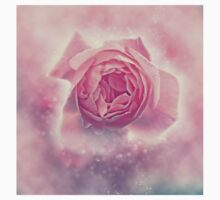 Digitally manipulated exploding Pink English rose as seen from above  One Piece - Short Sleeve