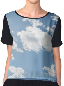 white fluffy clouds in the blue sky Chiffon Top