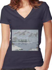 Rocky Mountain Fog Women's Fitted V-Neck T-Shirt