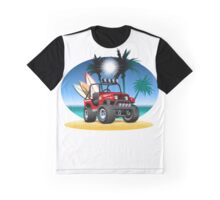 Cartoon Jeep on the beach Graphic T-Shirt