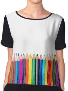 colored pencils closeup on white background Chiffon Top