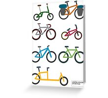 UNITED COLORS OF BICYCLES. Greeting Card