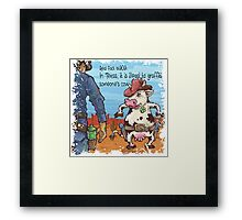 In Texas is illegal to graffiti someone's cow Framed Print