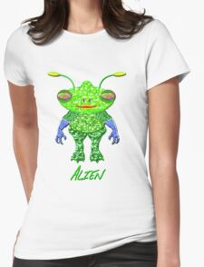 A GREEN ALIEN with blue gloves. Womens Fitted T-Shirt