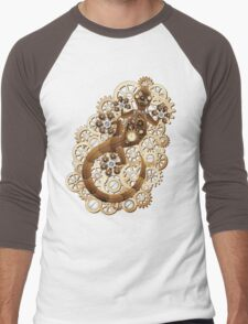 Steampunk Gecko Lizard Vintage Style Men's Baseball ¾ T-Shirt