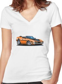 Cartoon muscle car Women's Fitted V-Neck T-Shirt