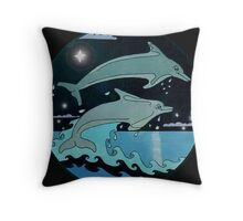 Dolphin`Leap for the Stars II' Tee Shirt Throw Pillow