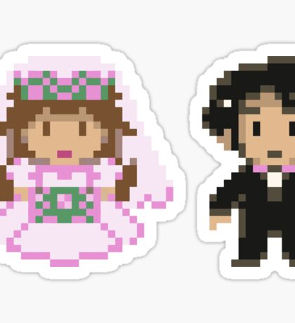 8-bit Bride and Groom Sticker