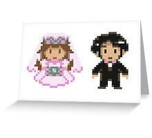 8-bit Bride and Groom Greeting Card