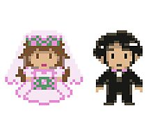 8-bit Bride and Groom Photographic Print
