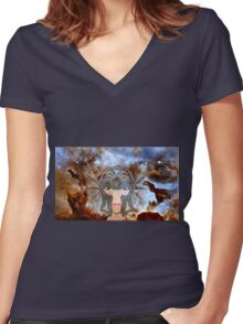A Female Galactic Warrior at the Dust Pillars in the Carina Nebula Women's Fitted V-Neck T-Shirt