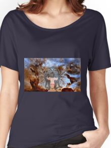 A Female Galactic Warrior at the Dust Pillars in the Carina Nebula Women's Relaxed Fit T-Shirt